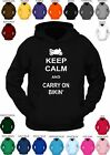 **KEEP CALM AND CARRY ON BIKIN' ** custom printed hoody -