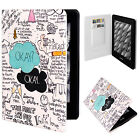 "Cute OKAY Text PU Leather Flip Folio Case Cover For 6"" Amazon Kindle Paperwhite"