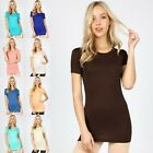 RAYON SHORT SLEEVE CREW NECK BASIC WOMEN'S T-SHIRT TOP BLACK BLUE PURPLE RT-8008