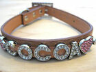 PU Leather Personalized Rhinestone Bling Dog Name Collar 4 Puppy,  Small,  Large