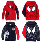 Boys Spiderman Zipper Clothes Girls Sweatshirt Hoodies Jacket Coat 2-8Y Kids