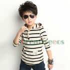 Fashion Kids Toddlers Boys Striped Long-Sleeved Hoodies 100% Cotton Tops T-Shirt