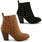 NEW LADIES HIGH HEEL STUDDED FASHION CHELSEA BIKER ANKLE BOOTS SHOES UK SIZE 3-8