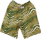 Zubaz Shorts: Green/Gold Zubaz Zebra Shorts- New