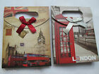 2 x QUALITY TRENDY LONDON DESIGNS HARD CARD PAPER GIFT BAG BOX FOR GIFTS UK SELL