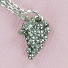 Grapes Cluster Pewter Charm on Plated Cable Chain Wine Fruit Jelly Juice Vine