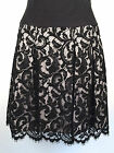 KAREN MILLEN Skirt 6 Black Embroidered Floral Lace pleated Skater Evening Party
