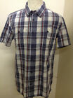 MENS WEIRD FISH SHIRT NAVY WHITE OXFORD CHECK SHORT SLEEVE CASUAL FIT WF5 BNWT
