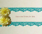"15/30 Yds Turquoise Lace Trim 3/8"" Vintage Floral M54AV Buy More-Ship No Charge"