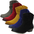 Women Ankle Western Cowboy Boots Round Toe Mid Calf Chunky Heel Casual Booties