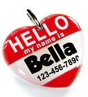 Hello My Name Is Red heart dog cat cute charm custom pet tag by ID4PET