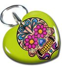 Sugar Skull Sweetheart Lime Green dog cat charm custom pet tag by ID4PET