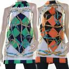 Halter Tunic Top Size 8 - 16 Green Orange Black Mini Dress Harlequin Blouse