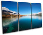 Mountain Lake Landscapes TREBLE CANVAS WALL ART Picture Print VA