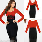 Fashion Women Lace Black & Red Slim Bodycon Party Cocktail Evening Club Dress