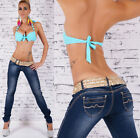 New Sexy Women's hipster jeans Dark Blue skinny jeans Inc Belt Size 6-14