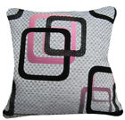 Qb302ba Black Pale Gold Hot Pink Linen Blend Checker Cushion Cover/Pillow Case