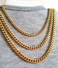 "18""-30"" Men's Stainless Steel 5-6-7mm 24k Gold Plated Cuban Link Chain Necklace"