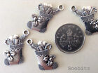 10, 25 or 50 Tibetan Silver Xmas Stocking Boot Charms 15x18mm
