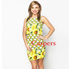 Ladies Overlap Back Detail Yellow & White Sunflower Dress