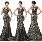 Mermaid Lace Evening Formal Party Long Gown Prom Wedding Bridesmaid Dress Black