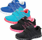 UNISEX GIRLS BOYS RIP TAPE STRAP CASUAL TRAINERS *3 COLOURS* AIR TECH- SPRINT