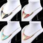 Womens Gold Tone Huge Ox Horn Pendant Chain Bib Statement Choker Collar Necklace