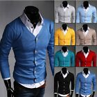 Men Casual Slim Fit V-neck Knitted Cardigan Pullover Jumper Sweater Tops 1618