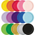 "Round Paper Plates 7"" & 9"" Party Plain Solid Colours Tableware Events Catering"