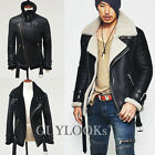Premium Design Mens Full Shearling Black Lambskin Aviator Flight Jacket Guylook