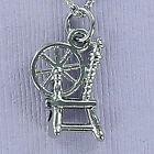 Pewter Spinning Wheel Charm on Plated Cable Chain Spin Yarn Thread Jenny Spindle