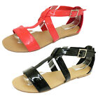 Ladies Summer Gladiator Black Coral Sandals Women Strappy Casual Shoes UK 3-8