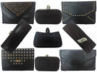 Ladies Black Evening Bag crystal satin clutch box envelope leather studs skull
