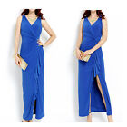 Blue Crossover V-Neck Sleeveless Twist Maxi Party / Cocktail Dress Size 12, 14