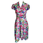 Floral Print Crossover V-Neck Chiffon Dress Size 8, 10, 12