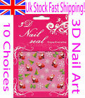 3D Nail Art Stickers Christmas Xmas Sparkling Colourful Glitter Ladies Girls