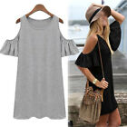 Women Butterfly Sleeve Strap off Shoulder Loose Vest dress T shirt Casual