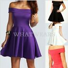 Fashion Womens Ladies Boat Neck Off The Shoulder Short Skater Pleated Dress HUK