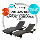 New Deluxe PE Wicker Outdoor Furniture SunBed Lounge Day Bed Twin Pack Package B