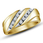 Solid !! 22K Gold Plated 925 Silver Two Row Lovely American Diamond Gents Ring