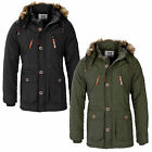 Mens Jacket Smith And Jones New Zip Hooded Military Padded Parka Parker Coat