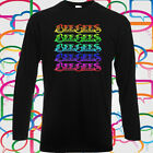 The Bee Gees Logo Pop Disco Rock Band Long Sleeve Men's Black T-Shirt Size S-3XL