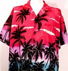HAWAIIAN SHIRTS  Festive Palms, Pink , L, XL, XXL for Party, Casual Wear
