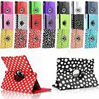 Leather 360 Rotating Polka Dot Case Cover For Apple iPad Mini 1,2,3 & Air 2