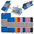 "NEW Stripe Magnetic PU Leather Stand Flip Case Cover For 4.7"" 5.5"" iPhone 6/Plus"