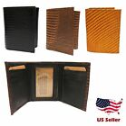 Mens Genuine Leather Wallet TRIFOLD SNAKE Print Card Slots Wallets