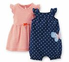 Carters Newborn 3 6 9 12 18 24 Months Dress Romper Set Baby Girl Clothes Outfit