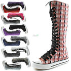 Woman Canvas Mid Calf Tall Boots Casual Sneaker Punk Flat Classic Black Shoelace