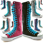 Woman Canvas Mid Calf Tall Boots Casual Sneaker Punk Flat Sky Blue Shoelace