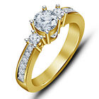 Gorgeous American Diamond Wedding / Engagement 18K Gold Plated 925 Silver Ring